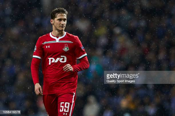Aleksei Miranchuk of Lokomotiv Moscow looks on during the Group D match of the UEFA Champions League between FC Porto and FC Lokomotiv Moscow at...