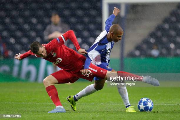 Aleksei Miranchuk of Lokomotiv Moscow Yacine Brahimi of Porto during the UEFA Champions League match between FC Porto v Lokomotiv Moscow at the...