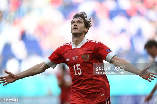 Aleksei Miranchuk of Russia celebrates after scoring their side's first goal during the UEFA Euro 2020 Championship Group B match between Finland and...