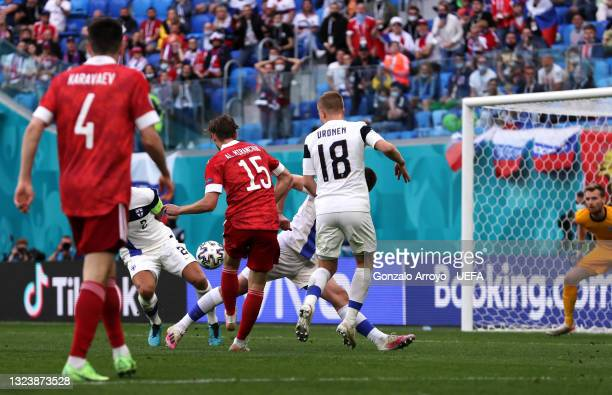 Aleksei Miranchuk of Russia scores their side's first goal during the UEFA Euro 2020 Championship Group B match between Finland and Russia at Saint...