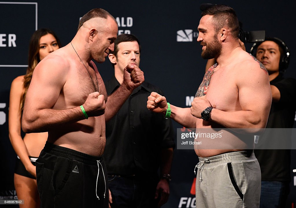 Aleksei Oleinik and Daniel Omielanczuk face off during the UFC Fight Night weigh-in at Denny Sanford Premier Center on July 12, 2016 in Sioux Falls, South Dakota.