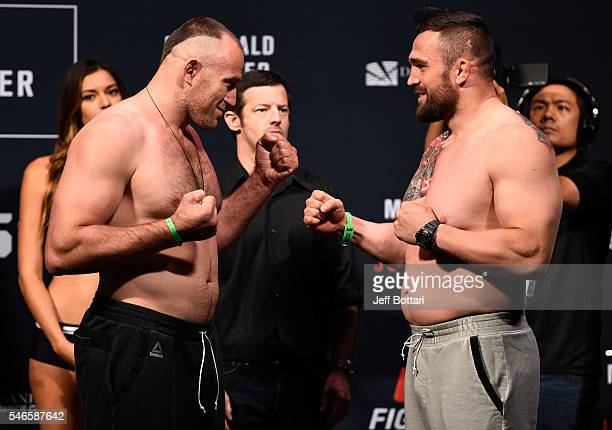 Aleksei Oleinik and Daniel Omielanczuk face off during the UFC Fight Night weighin at Denny Sanford Premier Center on July 12 2016 in Sioux Falls...