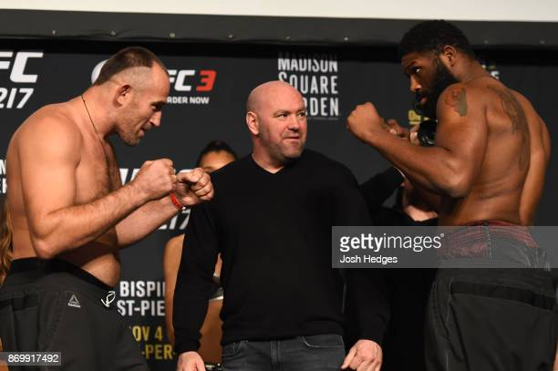 Aleksei Oleinik of Russia and Curtis Blaydes face off during the UFC 217 weighin inside Madison Square Garden on November 3 2017 in New York City