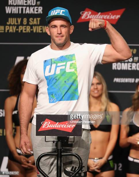 Aleksei Oleinik of Russia poses on the scale during the UFC weighin at the Park Theater on July 7 2017 in Las Vegas Nevada