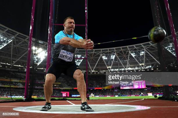 Aleksei Sokyrskii of the Authorised Neutral Athletes competes in the Men's Hammer Throw final during day eight of the 16th IAAF World Athletics...