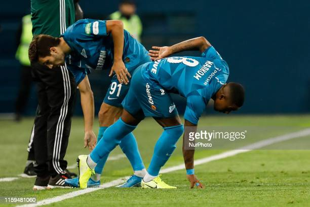 Aleksei Sutormin of FC Zenit Saint Petersburg is being substituted by Malcom during the Russian Premier League match between FC Zenit Saint...