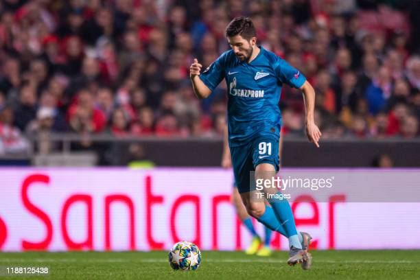 Aleksei Sutormin of Zenit St Petersburg controls the ball during the UEFA Champions League group G match between SL Benfica and Zenit St Petersburg...