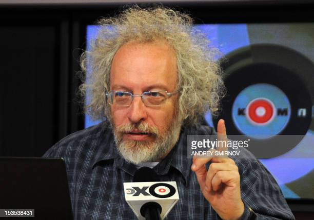 Aleksei Venediktov chief editor of the independent Russian media outlet Echo of Moscow speaks during live broadcast in Moscow on October 6 2012 Early...