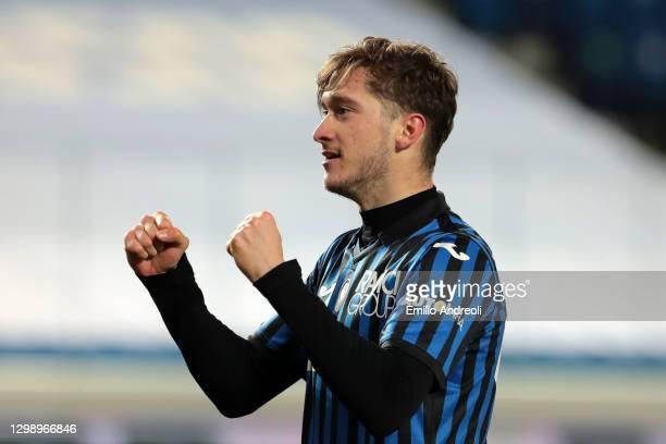 Aleksej Miranchuk of Atalanta B.C. Celebrates after scoring their sides third goal during the Coppa Italia match between Atalanta BC and SS Lazio at...