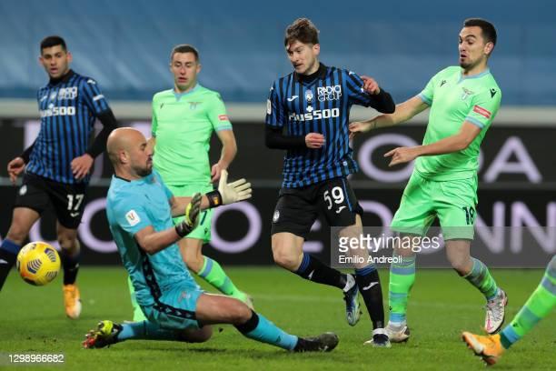 Aleksej Miranchuk of Atalanta B.C. Scores their sides third goal during the Coppa Italia match between Atalanta BC and SS Lazio at Gewiss Stadium on...