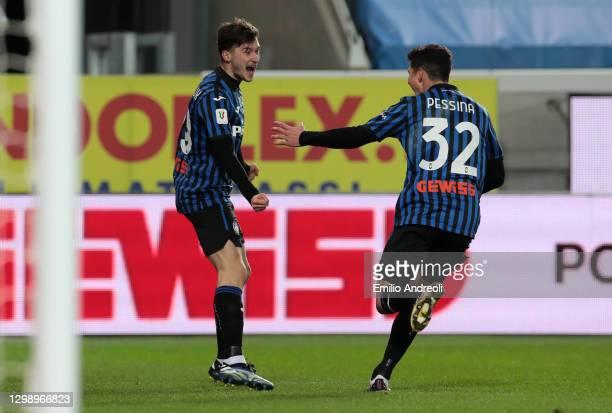 Aleksej Miranchuk of Atalanta B.C. Scores their sides third goal with tea, mate Matteo Pessina during the Coppa Italia match between Atalanta BC and...