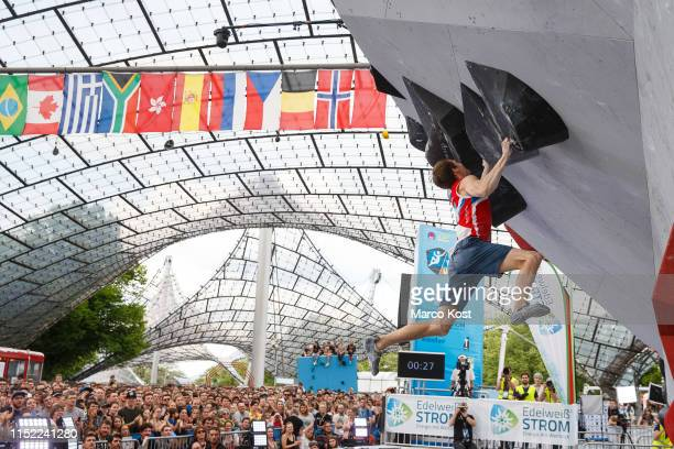 Aleksey Rubtsov of Russia competes during the finals of the IFSC Climbing World Cup Munich on May 19 2019 in Munich Germany