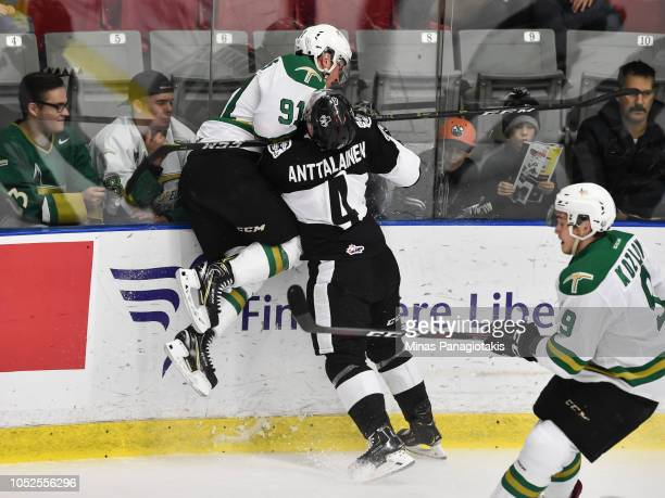Aleksi Anttalainen of the BlainvilleBoisbriand Armada drives Karl Boudrias of the ValdOr Foreurs into the glass during the QMJHL game at Centre...