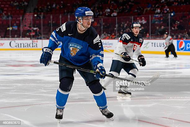 Aleksi Makela of Team Finland skates during the 2015 IIHF World Junior Hockey Championship game against Team Slovakia at the Bell Centre on December...