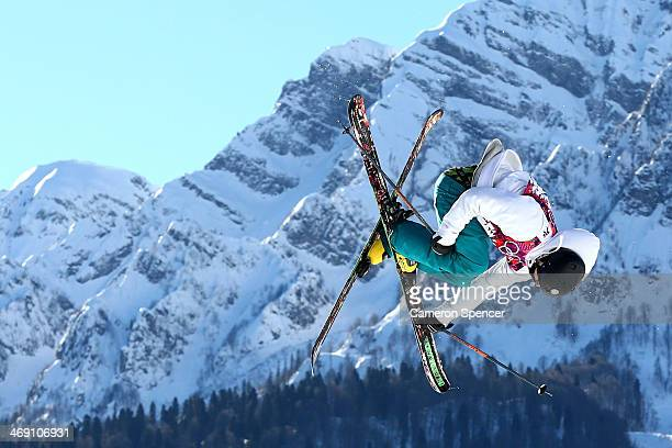 Aleksi Patja of Finland competes in the Freestyle Skiing Men's Ski Slopestyle Qualification during day six of the Sochi 2014 Winter Olympics at Rosa...