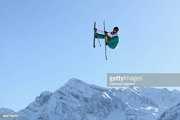 Aleksi Patja of Finland trains during a Ski Slopestyle practice at the Extreme Park at Rosa Khutor Mountain ahead of the Sochi 2014 Winter Olympics...