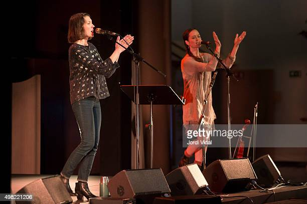 Alela Diane and Mirabai Peart perform on stage at Foyer del Gran Teatre del Liceu on November 21 2015 in Barcelona Spain