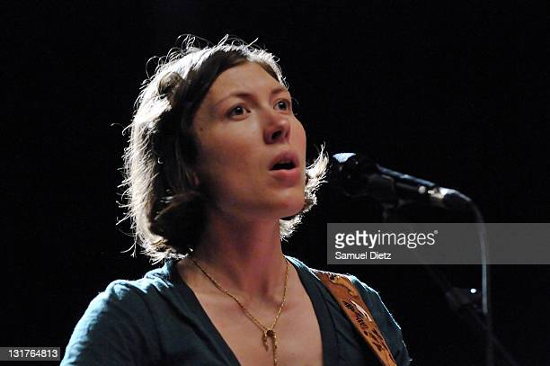 Alela Diane of Alela Diane Duo performs during the soundcheck of their live performance at the first edition of the Days Off Festival at Salle Pleyel...