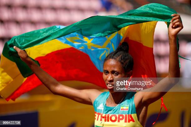 Alemaz Samuel of Ethiopia celebrates winning gold in the final of the women's 1500m on day six of The IAAF World U20 Championships on July 15 2018 in...