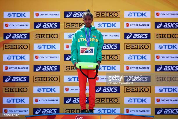 Alemaz Samuel of Ethiopia celebrates with her medal during the medal ceremony for the women's 1500m on day six of The IAAF World U20 Championships on...
