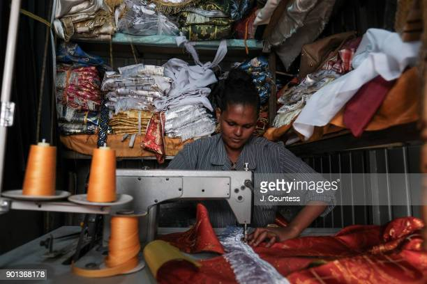 Alemshey a local artisan prepares clothing for Priest and Deacons of the Ethiopian Orthodox Church ahead of the January 7th Gena/Orthodox Christmas...