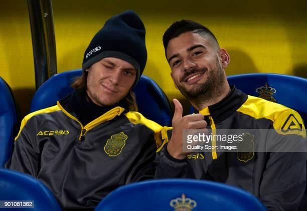 Alen Halilovic and Hernan Toledo of Las Palmas pose prior to the Copa del Rey Round of 16 first Leg match between UD Las Palmas and Valencia CF at...