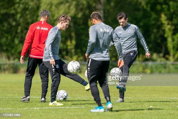 Alen Halilovic, Chidera Ejuke and Mitchell van Bergen of SC Heerenveen seen during the training session of SC Heerenveen on May 14, 2020 in...
