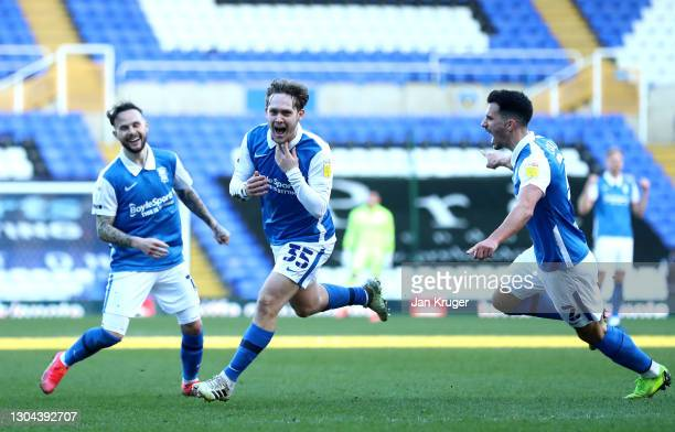 Alen Halilovic of Birmingham City celebrates after scoring his team's second goal during the Sky Bet Championship match between Birmingham City and...