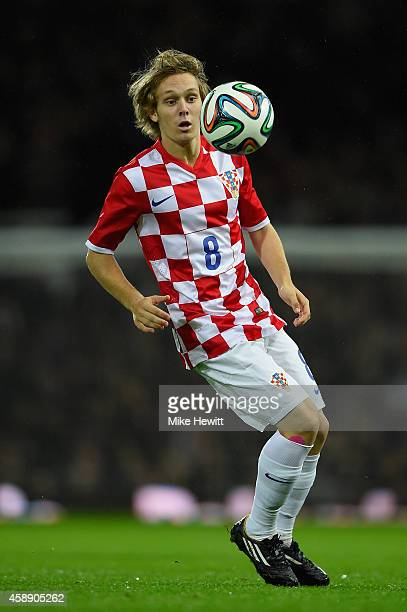 Alen Halilovic of Croatia in action during an International Friendly between Argentina and Croatia at Boleyn Ground on November 12 2014 in London...