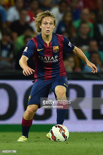 Alen Halilovic of FC Barcelona in action during the pre-season friendly match between FC Barcelona and SSC Napoli on August 6, 2014 in Geneva,...
