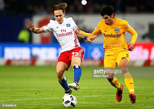 Alen Halilovic of Hamburg and Jesus Vallejo of Frankfurt battle for the ball during the Bundesliga match between Hamburger SV and Eintracht Frankfurt...