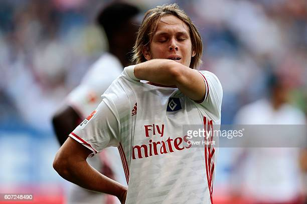 Alen Halilovic of Hamburg appears frustrated during the Bundesliga match between Hamburger SV and RB Leipzig at Volksparkstadion on September 17 2016...
