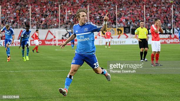 Alen Halilovic of Hamburg celebrates after scoring 10 during the DFB Cup match between FSV Zwickau and Hamburger SV at Stadion Zwickau on August 22...