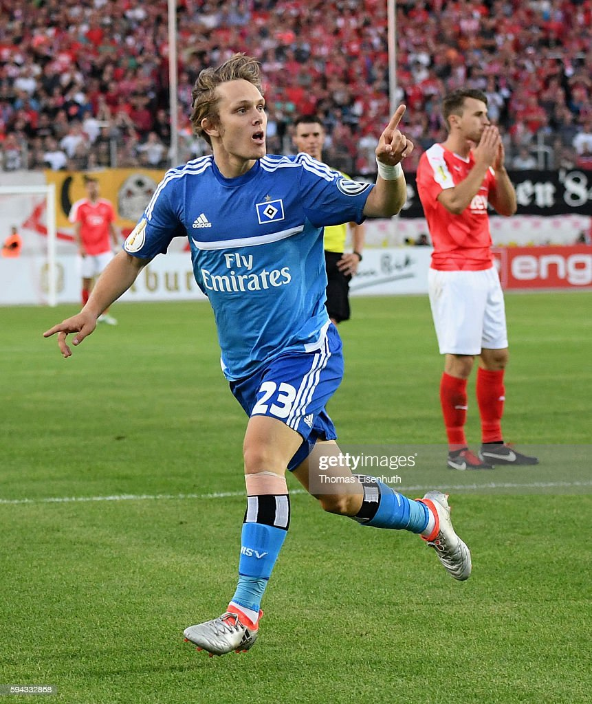 Alen Halilovic of Hamburg celebrates after scoring 1:0 during the DFB Cup match between FSV Zwickau and Hamburger SV at Stadion Zwickau on August 22, 2016 in Zwickau, Germany.