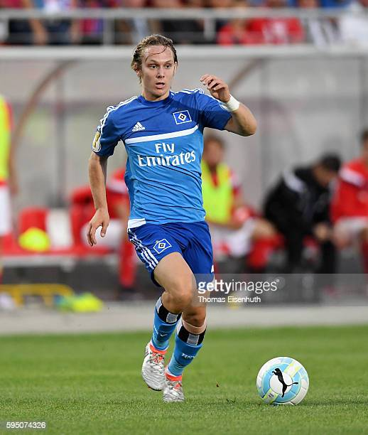 Alen Halilovic of Hamburg during the DFB Cup match between FSV Zwickau and Hamburger SV at Stadion Zwickau on August 22 2016 in Zwickau Germany