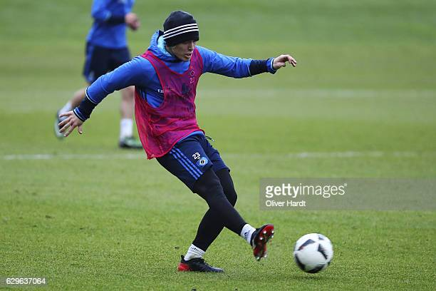 Alen Halilovic of Hamburg in action during a training session at Volksparkstadion on December 14 2016 in Hamburg Germany