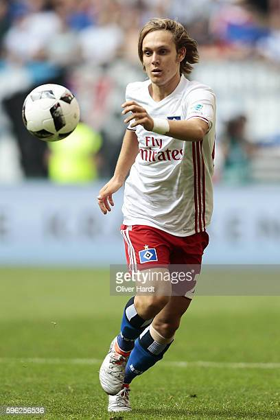Alen Halilovic of Hamburg in action during the Bundesliga match between Hamburger SV and FC Ingolstadt 04 at Volksparkstadion on August 27 2016 in...