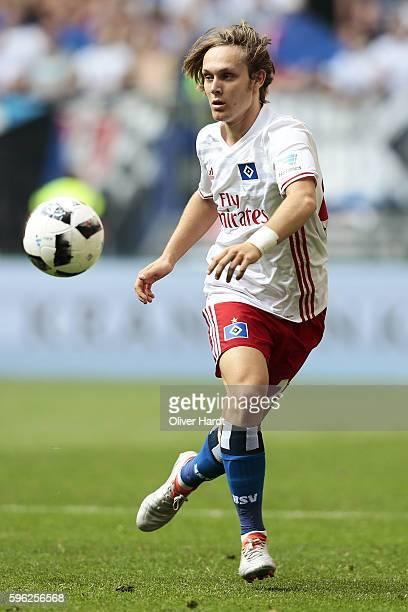 Alen Halilovic of Hamburg in action during the Bundesliga match between Hamburger SV and FC Ingolstadt 04 at Volksparkstadion on August 27 2016 in...
