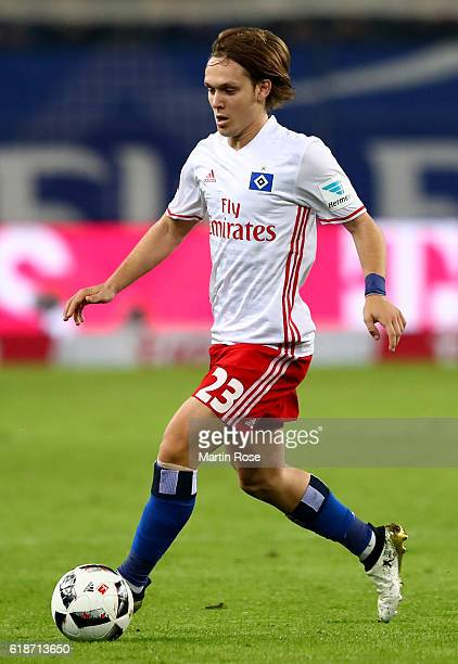 Alen Halilovic of Hamburg runs with the ball during the Bundesliga match between Hamburger SV and Eintracht Frankfurt at Volksparkstadion on October...