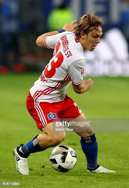 Alen Halilovic of Hamburg runs with the ball during the Bundesliga match between Hamburger SV and Eintracht Frankfurt at Volksparkstadion on October...