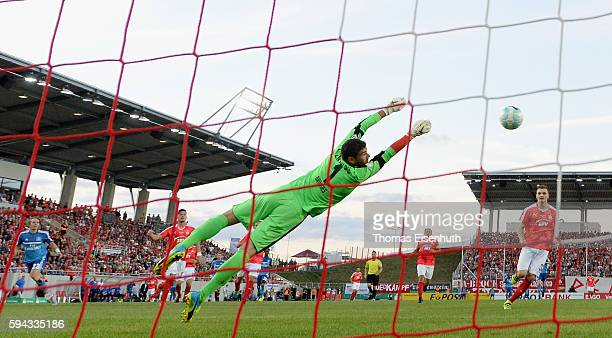 Alen Halilovic of Hamburg scores the opening goal against goalie Johannes Brinkies of Zwickau during the DFB Cup match between FSV Zwickau and...
