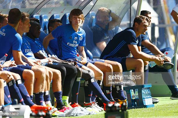 Alen Halilovic of Hamburg sit outside during the preseason friendly match between Hamburger SV and Stoke City at Volksparkstadion on August 6 2016 in...