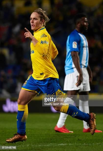 Alen Halilovic of Las Palmas celebrates after scoring his sides first goal during the La Liga match between Las Palmas and Malaga at Estadio Gran...