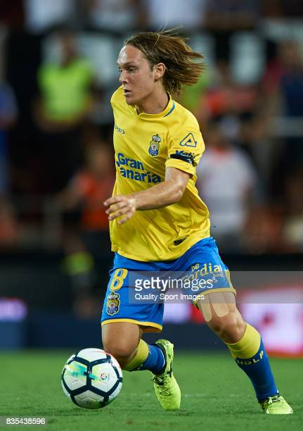 Alen Halilovic of Las Palmas in action after a red card during the La Liga match between Valencia and Las Palmas at Estadio Mestalla on August 18...