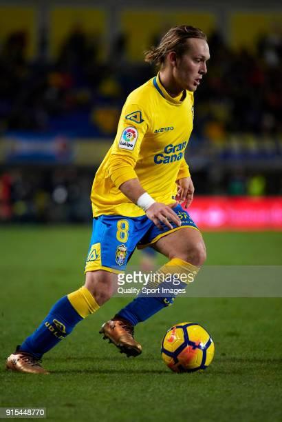 Alen Halilovic of Las Palmas in action during the La Liga match between Las Palmas and Malaga at Estadio Gran Canaria on February 5 2018 in Las...
