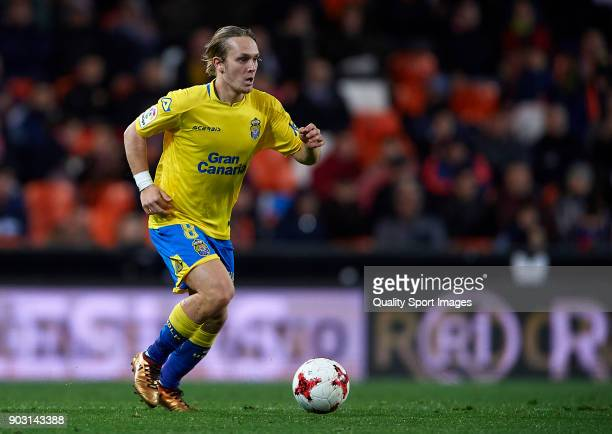 Alen Halilovic of Las Palmas runs with the ball during the Copa del Rey Round of 16 second Leg match between Valencia CF and UD Las Palmas on January...
