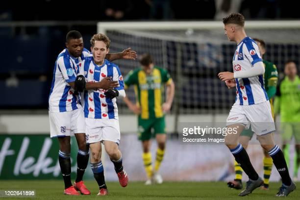 Alen Halilovic of SC Heerenveen celebrates 2-2 with Sherel Floranus of SC Heerenveen during the Dutch Eredivisie match between SC Heerenveen v ADO...