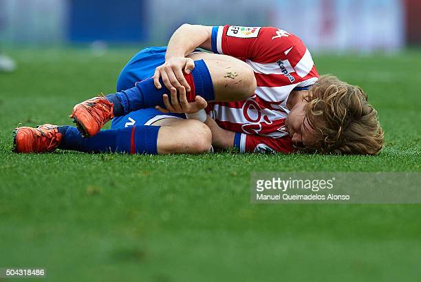 Alen Halilovic of Sporting de Gijon lies injured on the pitch during the La Liga match between Villarreal CF and Real Sporting de Gijon at El...