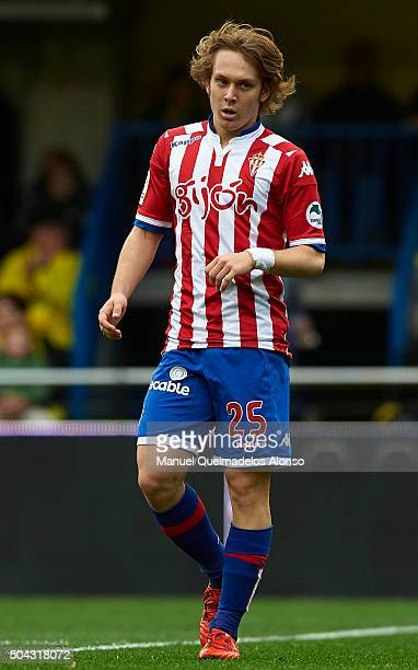 Alen Halilovic of Sporting de Gijon looks on during the La Liga match between Villarreal CF and Real Sporting de Gijon at El Madrigal on January 10...