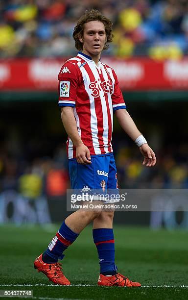 Alen Halilovic of Sporting de Gijon looks on during the La Liga match between Villarreal CF and Real Sporting de Gijon at El Madrigal on January 10...
